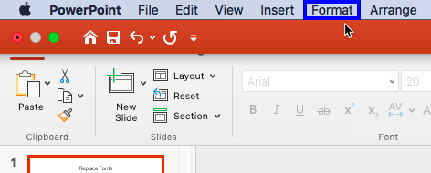 Format option within the Menu bar