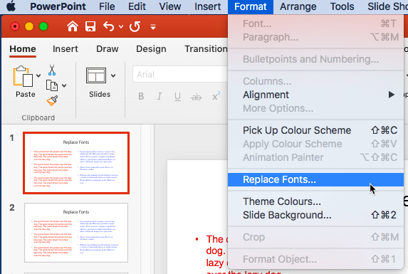 Replace Fonts option