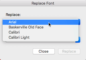 Font to be replaced selected