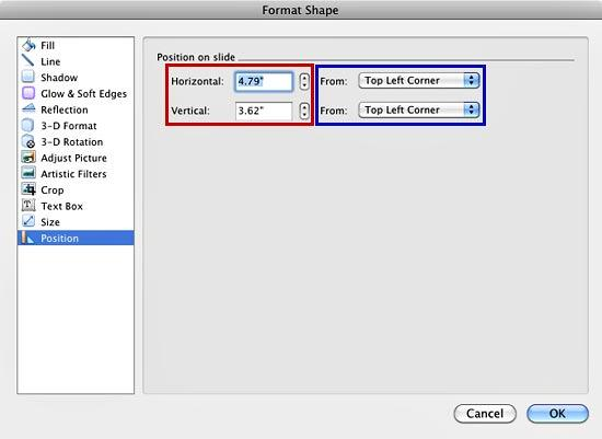Position on slide options within Format Shape dialog box