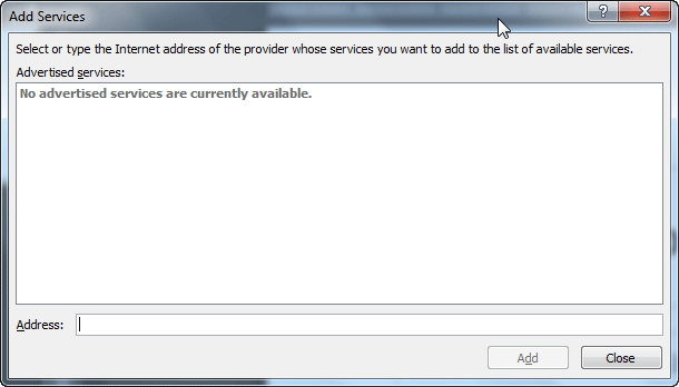 Add Services dialog box