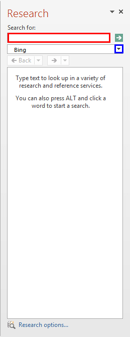Research Task Pane with no results