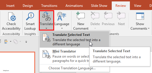 Access Translate to bring up the Research Task Pane