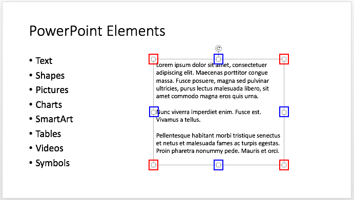 Text box with transform points
