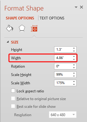 Width of the text box changed to match the picture's width