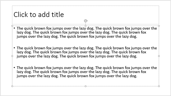 Text Placeholder selected