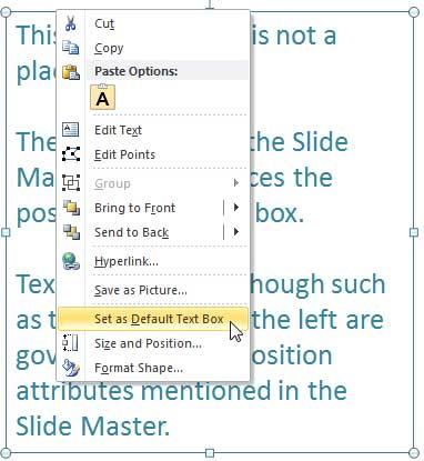 Set as Default Text Box option