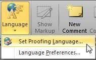 Set Proofing Language option selected