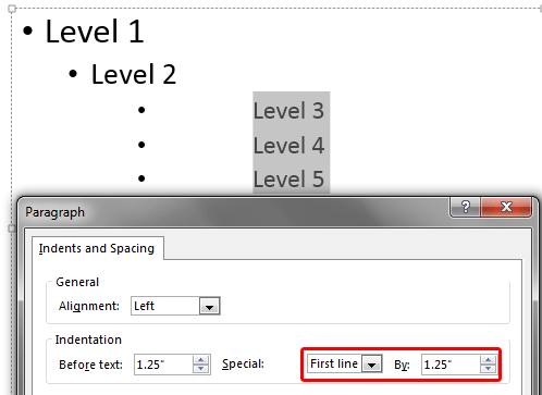 By value changed with First Line option selected
