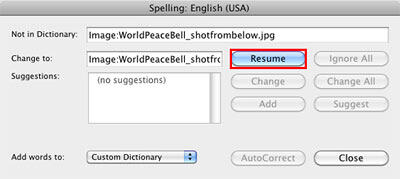 Resume button within the Spelling dialog box