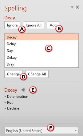 Options within Spelling Task Pane