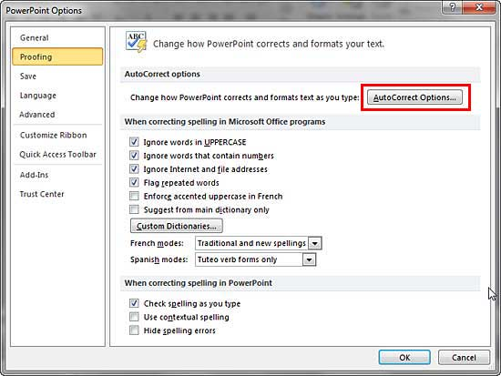 Proofing panel selected within PowerPoint Options dialog box