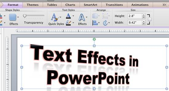 Text applied with 3-D Rotation, Glow, and Reflection effects