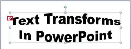 Transform Effect applied to the text
