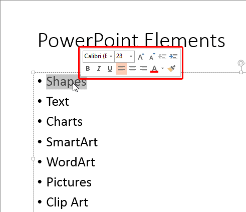 Mini toolbar appears when text is selected