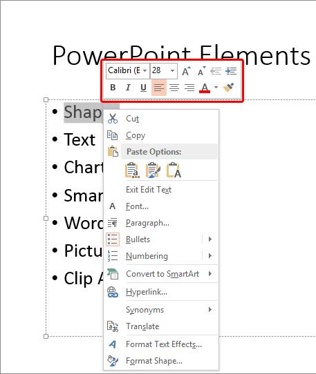 Mini toolbar above contextual menu
