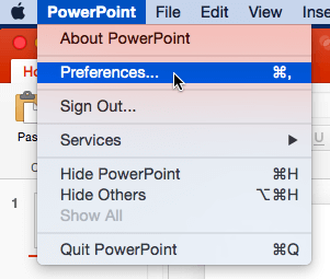 Preferences option selected within PowerPoint menu