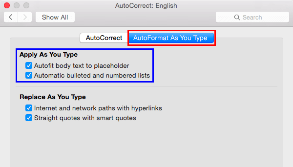 AutoFormat As You Type tab selected within AutoCorrect dialog box