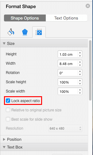 Lock Aspect Ratio check-box selected within the Format Shape Task Pane