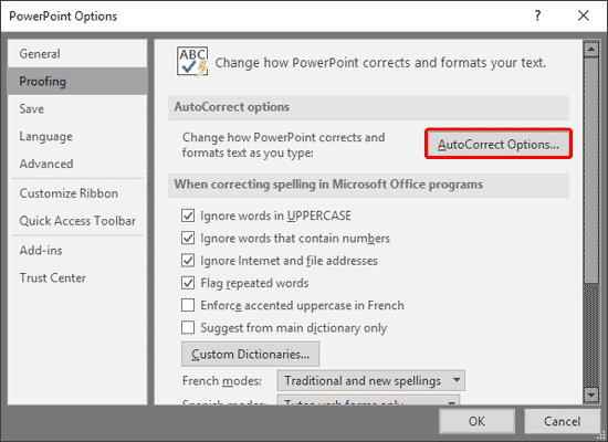 Proofing option selected within PowerPoint Options dialog box