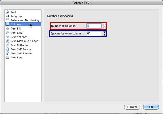 Columns option within Format Text dialog box