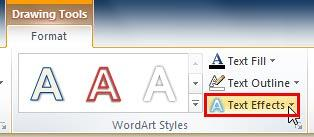 Text Effects button within WordArt Styles group