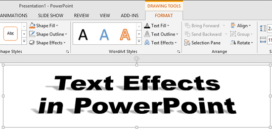 Text applied with 3-D Rotation and Shadow effects