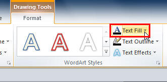 Text Fill button within WordArt Styles group
