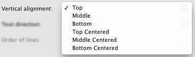 Vertical alignment drop-down list