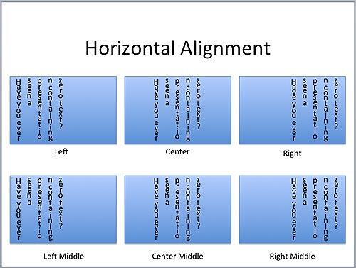 Examples of Horizontal alignment of the stacked text