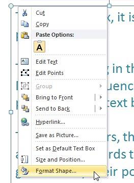 Format Shape option