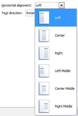 Horizontal alignment drop-down list