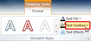 Text Outline button within WordArt Styles group