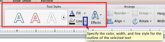 Text Outline button within Text Styles group