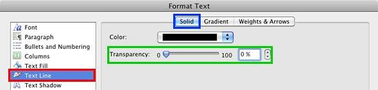 Outline color and transparency edit options within Format Text dialog box