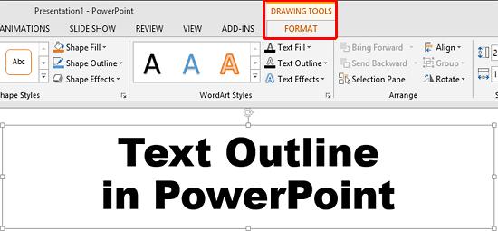 Drawing Tools Format tab of the Ribbon
