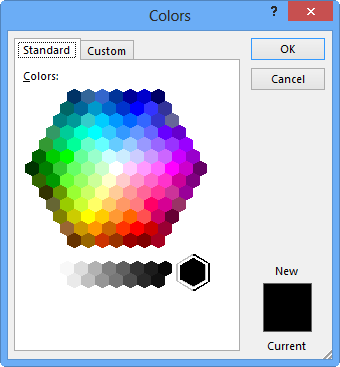 Standard tab of the Colors dialog box