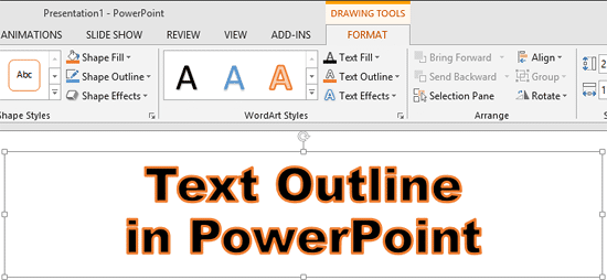 Text with changed outline color