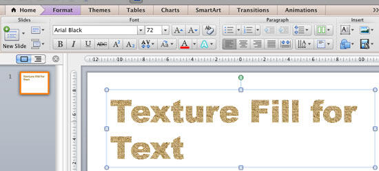 Text with texture fill applied