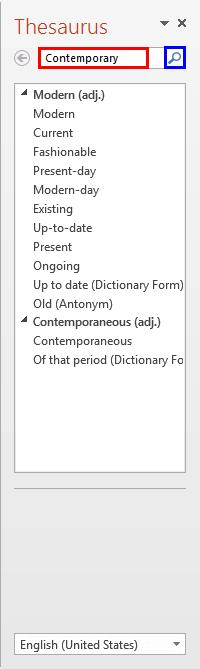 Thesaurus Task Pane