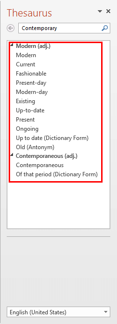 Thesaurus Task Pane with the list of related words