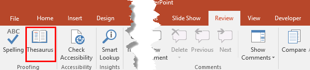 Thesaurus button within the Review tab of the Ribbon