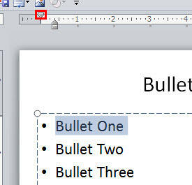 Bulleted paragraph selected on the slide