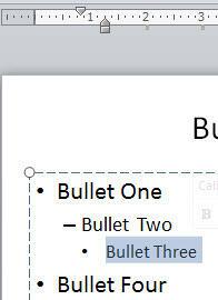 Bullet character moved leftwards