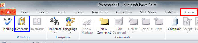 Research button within the Review tab of the Ribbon