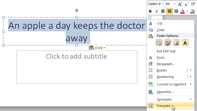 Translate option within the right-click contextual menu