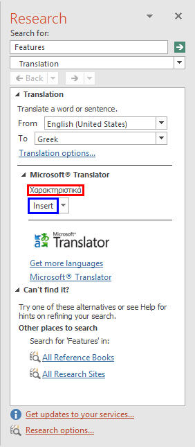 Insert the translated word into the active slide