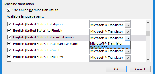 Changed the service to WorldLingo for French (France)