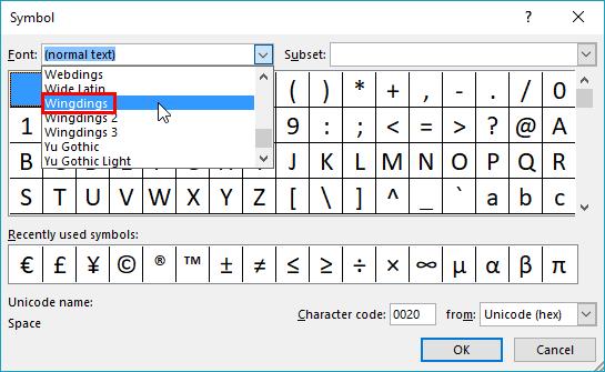Font drop-down list