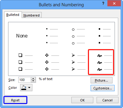 Selected symbol's preview